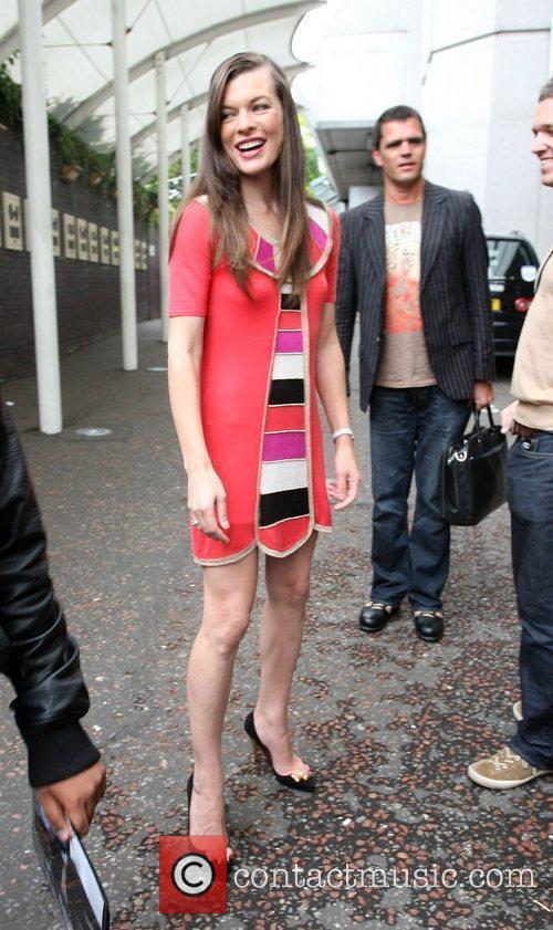 Milla Jovovich leaves the GMTV studios after appearing...