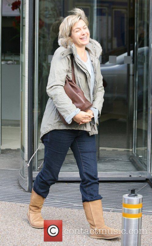 Penny Smith outside the 'GMTV' studios London, England