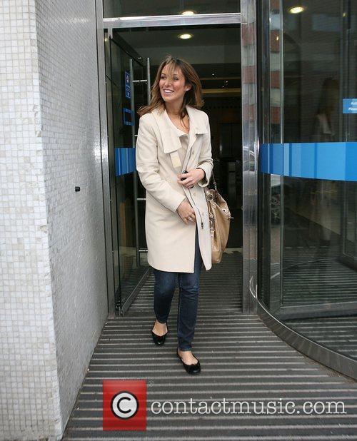 Emma Crosby outside the GMTV studios London, England