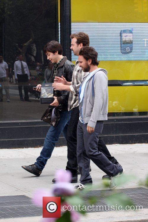 Filming on the set of their new movie...