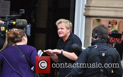 Gordon Ramsay  filming outside the 'Yang Sing'...
