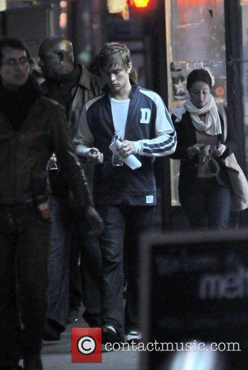 Chace Crawford on the set of 'Gossip Girl'...
