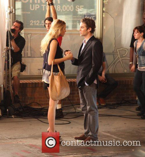 On the set of 'Gossip Girl' in the...