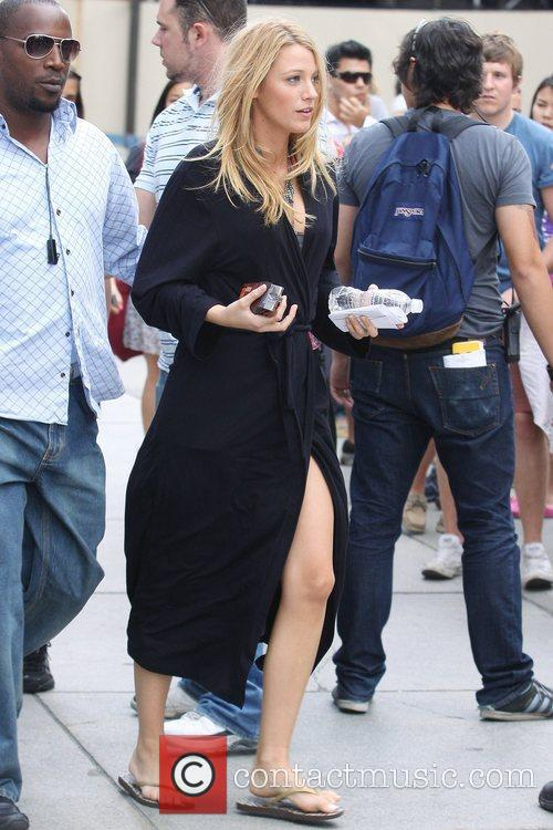 Blake Lively during a break from filming scenes...