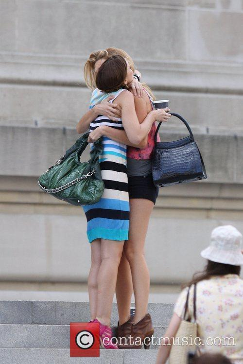 Leighton Meester and Blake Lively filming scenes for...