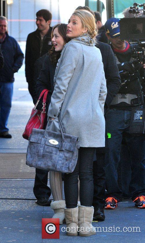 Blake Lively on the set of 'Gossip Girl'...