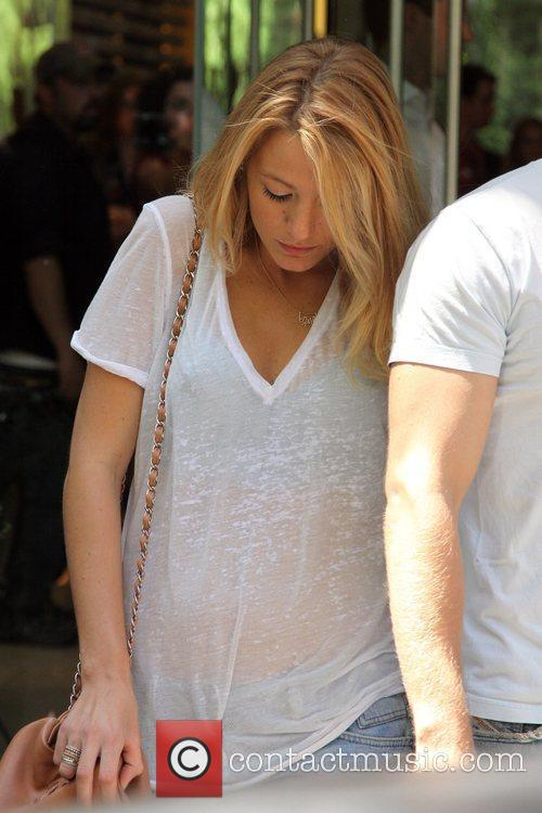 Blake Lively seen filming for the television series...