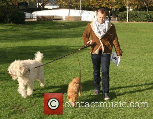 Graham Norton walking his dogs near the London...