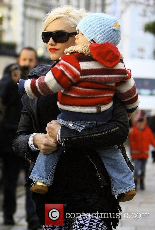 Gwen Stefani and son Zuma wrapped up warm...