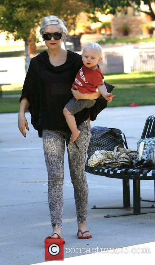 Gwen Stefani at Beverly Hills park with her...