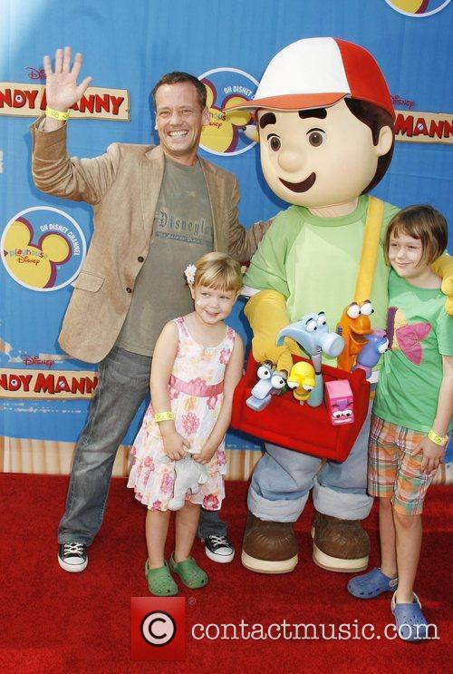 Dee Bradley Baker with his daughters Cora and...