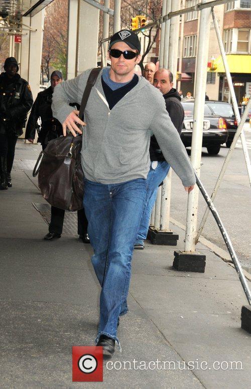 Hugh Jackman arriving at the Schoenfeld Theatre to...
