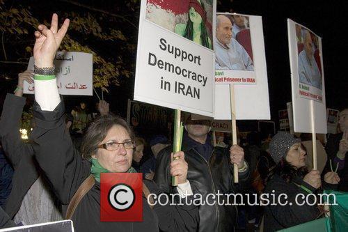 Iranians Protest  outside the Iranian Embassy London,...
