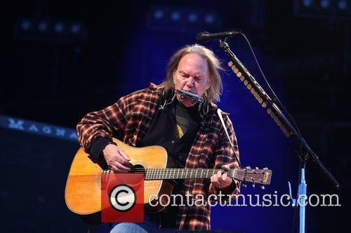 Neil Young performing Isle of Wight Music Festival...