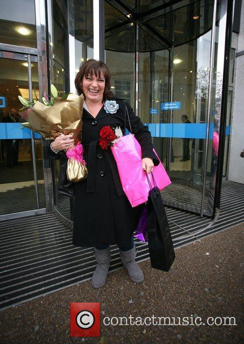 Outside the ITV studios on her 50th Birthday