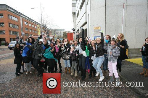 JLS Fans outside the ITV studios London, England