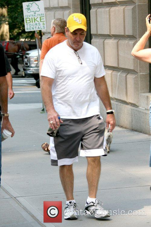 Father of Britney Spears walking around Manhattan while...