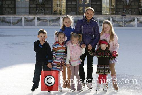Jayne Torvill  and young skaters celebrate the...