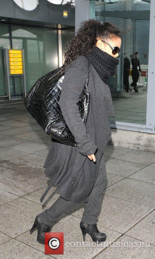 Janet Jackson arriving at Heathrow Airport. London, England