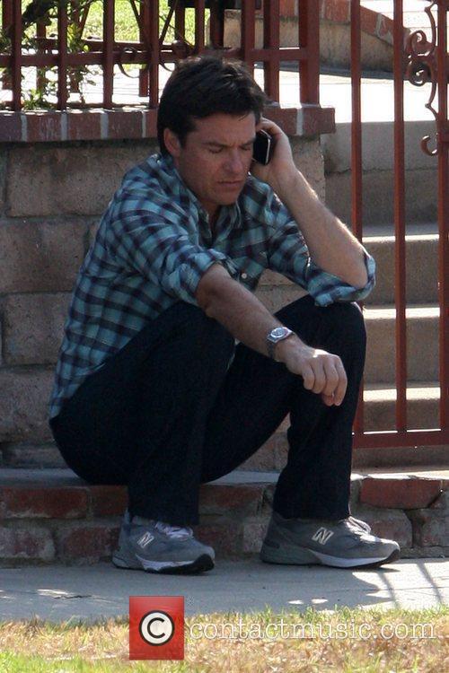 Jason Bateman seen talking on the phone during...