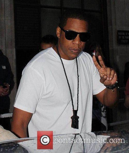 Jay-Z leaving the Radio One studios after being...