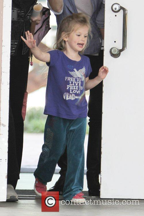Violet Affleck leaving her nursery school with her...
