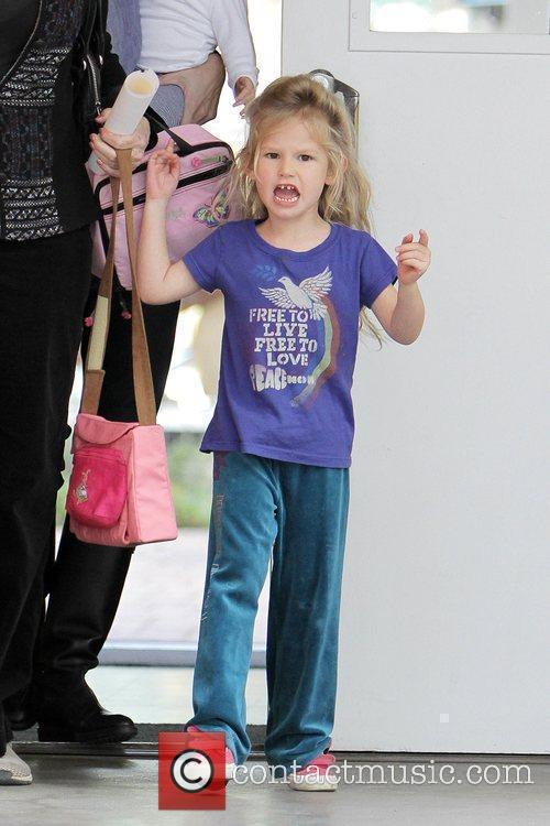 Violet Affleck leaving her nursery school with her...