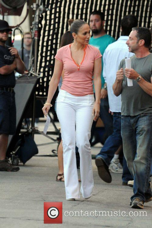 Seen on the set of her new movie...