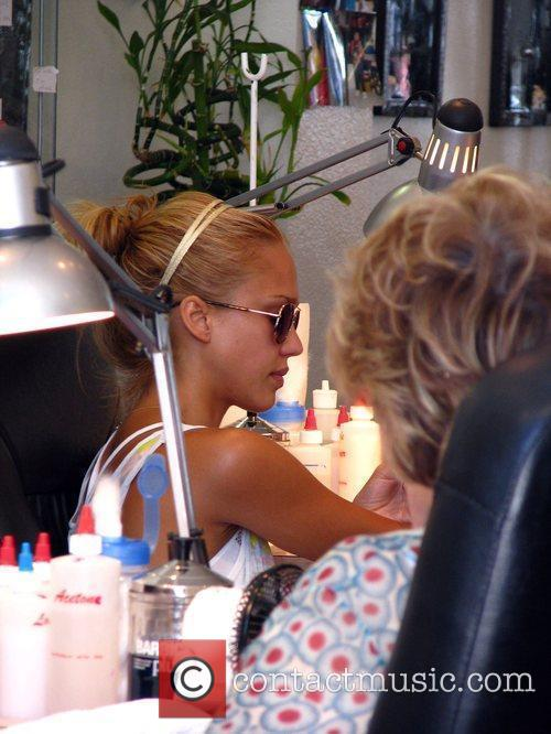 Jessica Alba  seen having a manicure at...