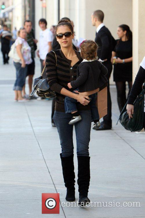 Jessica Alba seen shopping on Rodeo Drive with...