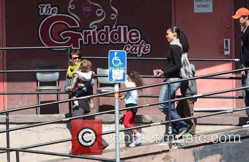 Jessica Alba, Cash Warren, their daughter, Honor Marie Warren and have breakfast at The Griddle in West Hollywood with friends. 8
