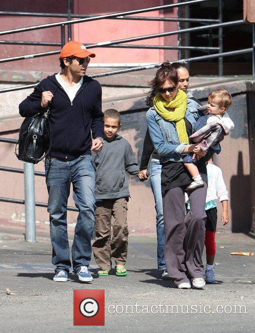 Jessica Alba, Cash Warren, their daughter, Honor Marie Warren, have breakfast at The Griddle in West Hollywood with friends.