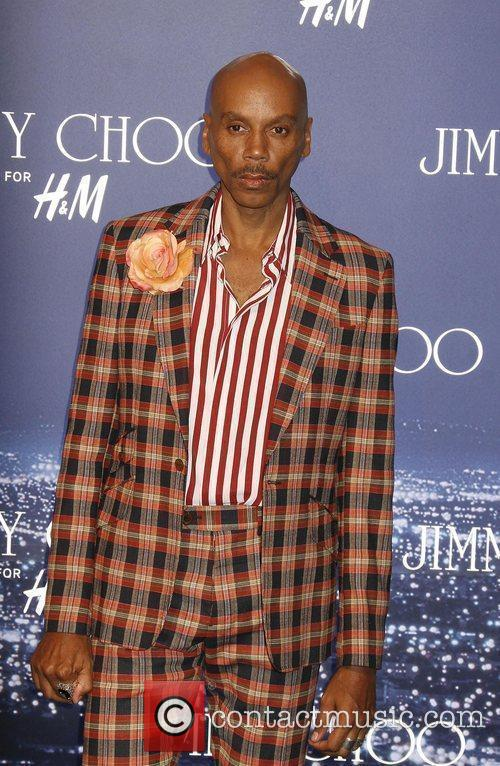 RuPaul arriving at the Jimmy Choo for H&M...