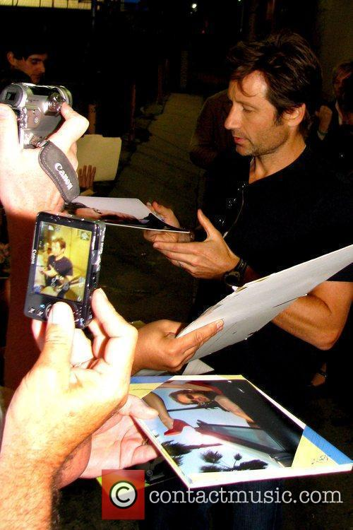 David Duchovny meeting with fans outside the El...