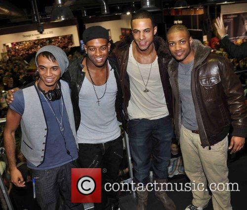 Aston Merrygold, Marvin Humes, Jonathan Gill and Oritse Williams of JLS 1
