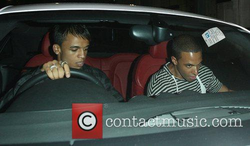 Aston Merrygold and Marvin Humes leaving Funky Buddha...