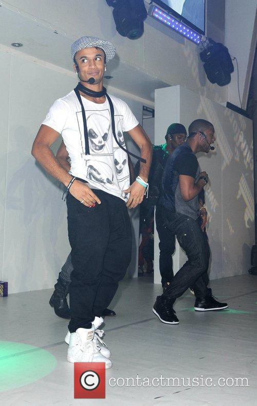 Aston Merrygold of JLS performs at the turning...