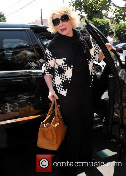 Joan Rivers, Carrying A Tan Hermes Handbag and Arrives At Fred Segal For Lunch 5