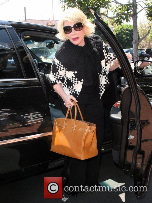 Joan Rivers, Carrying A Tan Hermes Handbag and Arrives At Fred Segal For Lunch 8