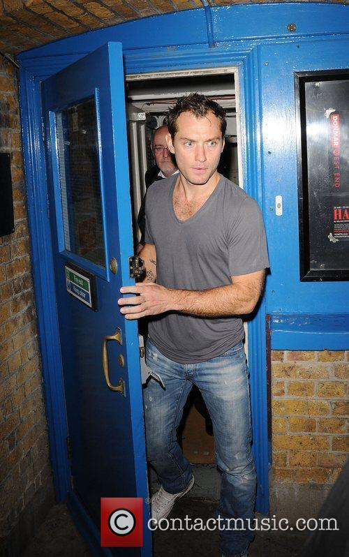 Leaving the Wyndham's Theatre after performing in a...