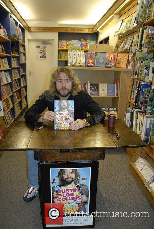 Justin Lee Collins signing copies of his new...