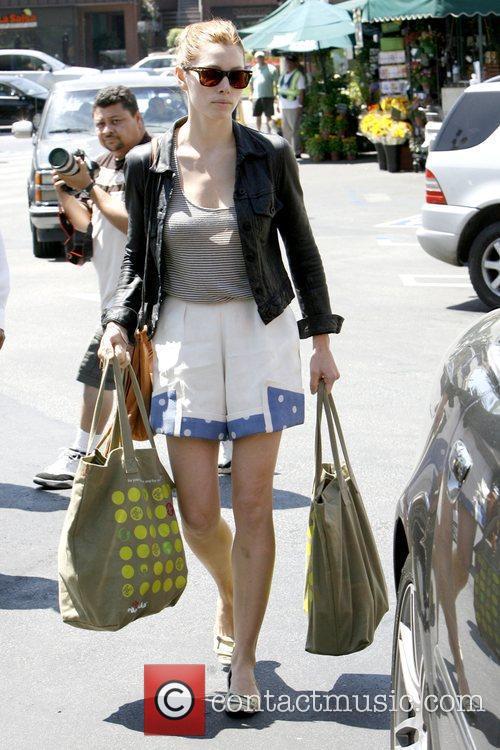 Jessica Biel leaving Whole Foods Market in Brentwood...
