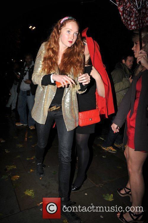 Lily Cole outside Kanaloa Nightclub. London, England