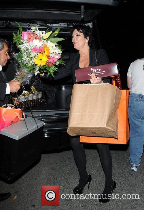 Kris Jenner arrives for her daughters birthday party...