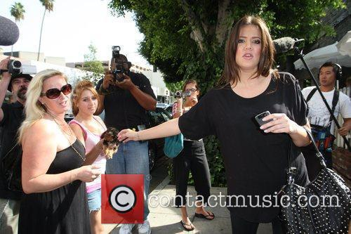 Khloe Kardashian shopping with her sister on Robertson...