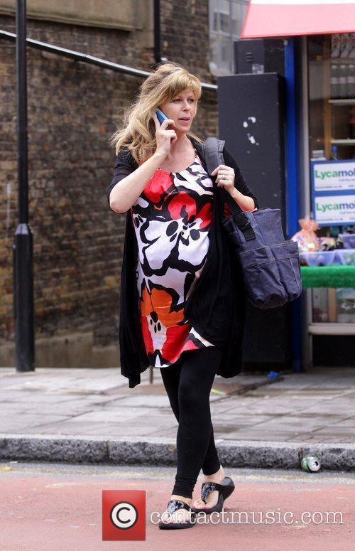 A Heavily Pregnant Kate Garraway Crossing The Street Talking On Her Mobile Phone 3