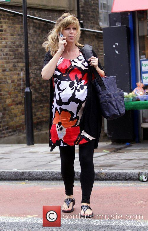 A Heavily Pregnant Kate Garraway Crossing The Street Talking On Her Mobile Phone 5