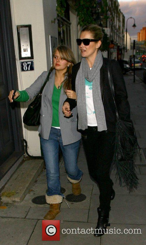 Kate Moss  and a friend leaving a...