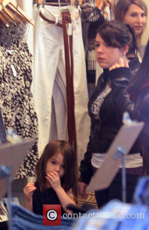 Suri Cruise and step-sister Isabella Cruise shopping at...