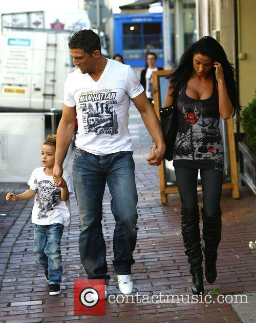Katie Price, aka Jordan, with boyfriend Alex Reid and her son Junior 14